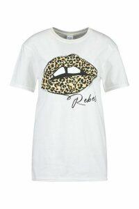 Womens Leopard Lips ' Rebel ' Slogan T-Shirt - White - M, White