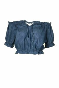 Womens Chambray Off The Shoulder Top - Blue - 16, Blue