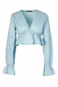Womens Chambray Flute Sleeve Top - Blue - 16, Blue