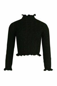 Womens Cable Knit Ruffle Crop Jumper - Black - M/L, Black