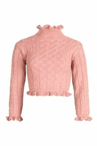 Womens Cable Knit Ruffle Crop Jumper - Pink - M/L, Pink