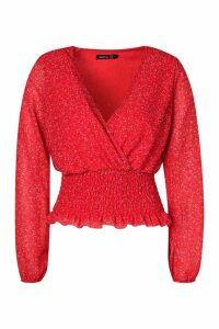 Womens Ditsy Print Shirred Wrap Blouse - 16, Red