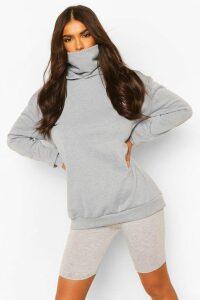 Womens Hoodie With Snood - Grey - 16, Grey