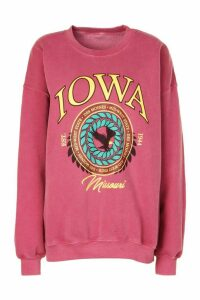 Womens Iowa Washed Oversized Sweatshirt - Red - M, Red