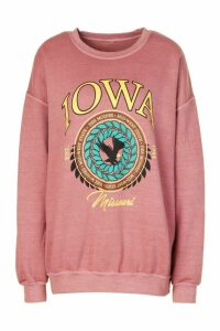 Womens Iowa Washed Oversized Sweatshirt - Orange - M, Orange