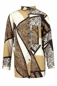 Womens Animal Print Oversized Pocket Detail Shirt - Brown - 14, Brown