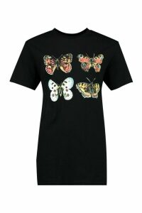 Womens Painted Butterfly Printed T-Shirt - Black - M, Black