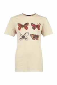 Womens Painted Butterfly Printed T-Shirt - Beige - M, Beige