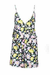 Womens Wrap Front Floral Jersey Playsuit - Black - 16, Black