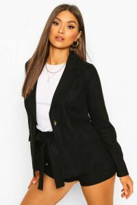 Womens Linen Look Blazer - Black - 12, Black