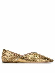 Miu Miu mock crock crystal ballerina shoes - GOLD
