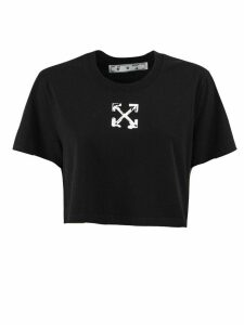 Off-White Black Cotton Cropped T-shirt
