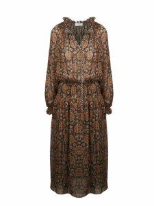 Celine Printed Silk Lamé Folk Dress