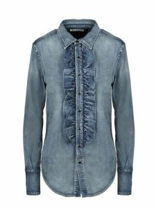 Saint Laurent Denim Ruffle Shirt