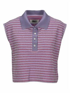 Mm6 Cropped Lurex Stripes Polo Shirt