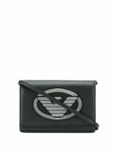 Emporio Armani studded logo crossbody bag - Black
