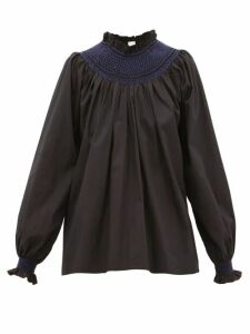 Loretta Caponi - Maria Smocked Cotton-poplin Blouse - Womens - Black Navy
