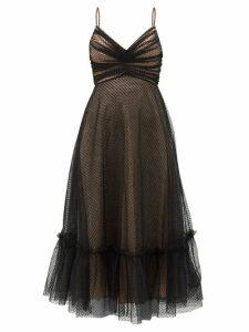 Zimmermann - Wavelength Ruched Polka-dot Tulle Midi Dress - Womens - Black