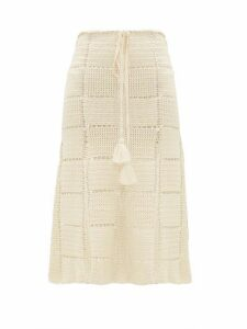 Escvdo - Tani Crocheted Cotton Midi Skirt - Womens - Ivory