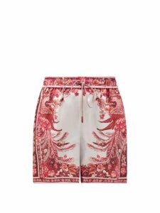 Zimmermann - Wavelength Floral-print Silk Shorts - Womens - Pink Print