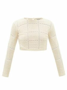 Escvdo - Sacha Checked Crocheted-cotton Crop Top - Womens - Ivory