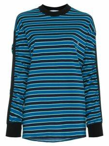 Givenchy stripe gathered sleeve logo print top - Blue