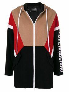 Love Moschino zipped logo hoodie - Black