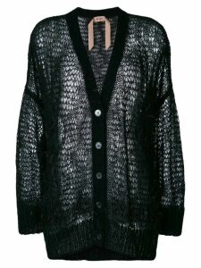Nº21 oversize open-knit feather cardigan - Black