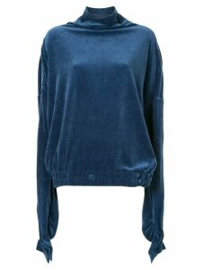 Paula Knorr velour draped top - Blue