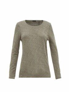 ATM - Distressed-hem Cotton-jersey Long-sleeved T-shirt - Womens - Khaki