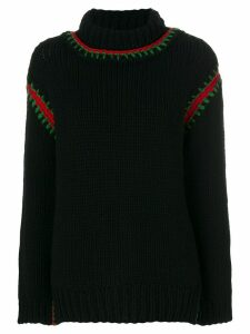 Moncler Grenoble embroidered roll-neck sweater - Black
