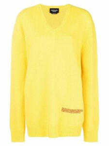 Calvin Klein 205W39nyc v neck oversized jumper - Yellow