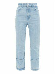 Raf Simons - Turned-up Straight-leg Jeans - Womens - Light Denim