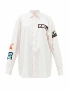 Raf Simons - Appliqué-patch Cotton-poplin Shirt - Womens - Light Pink