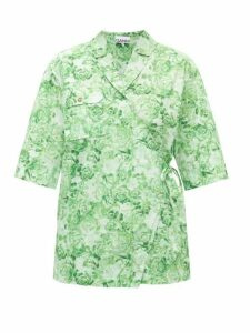 Ganni - Rose-print Cotton Shirt - Womens - Green