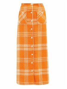 William Vintage - Buttoned-front Checked Tweed Maxi Skirt - Womens - Orange Multi
