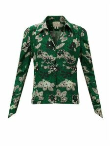 William Vintage - Ossie Clark For Radley Floral-print Crepe Blouse - Womens - Green
