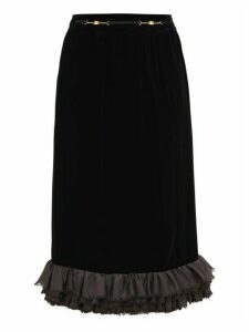 William Vintage - Céline Ruffled-hem Velvet Skirt - Womens - Black