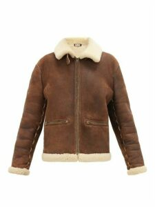 William Vintage - Alaïa Leather And Shearling Bomber Jacket - Womens - Brown