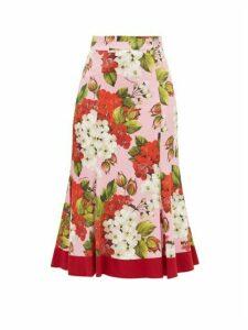 Dolce & Gabbana - Geranium-print Silk-blend Charmeuse Midi Skirt - Womens - Red Print