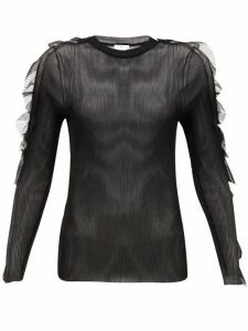 Noir Kei Ninomiya - Ruffled Ribbed-jersey Top - Womens - Black