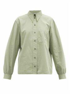 Lemaire - Point-collar Cotton Poplin Shirt - Womens - Light Green