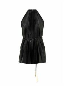 Ellery - Philodemus Halterneck Pleated Faux-leather Top - Womens - Black