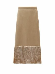 Burberry - Fringed Wool-blend Pencil Skirt - Womens - Beige