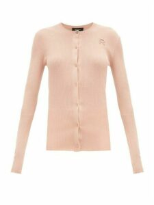 Rochas - Logo-embroidered Ribbed-cotton Cardigan - Womens - Light Pink