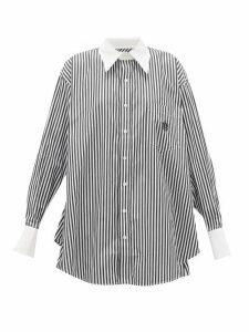 Matthew Adams Dolan - Logo-embroidered Striped Cotton-poplin Shirt - Womens - White Black