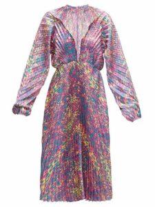 Vetements - Pleated Leopard-print Satin-twill Dress - Womens - Pink Multi