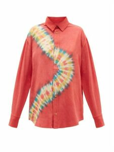 The Elder Statesman - Magic Oversized Tie-dye Pilled-silk Shirt - Womens - Pink