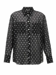 Balmain - Blason-button Glitter Polka-dot Georgette Shirt - Womens - Black Silver