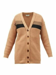 Fendi - Striped Chunky-knit Cotton-blend Cardigan - Womens - Light Brown